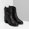 Kožené černé kozačky na stabilním podpatku bata, černá, 794-6618 - 26