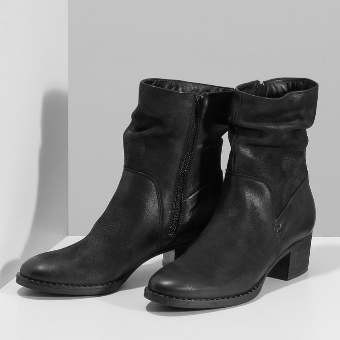 Dámské černé kožené kozačky s řasením bata, černá, 696-6601 - 16