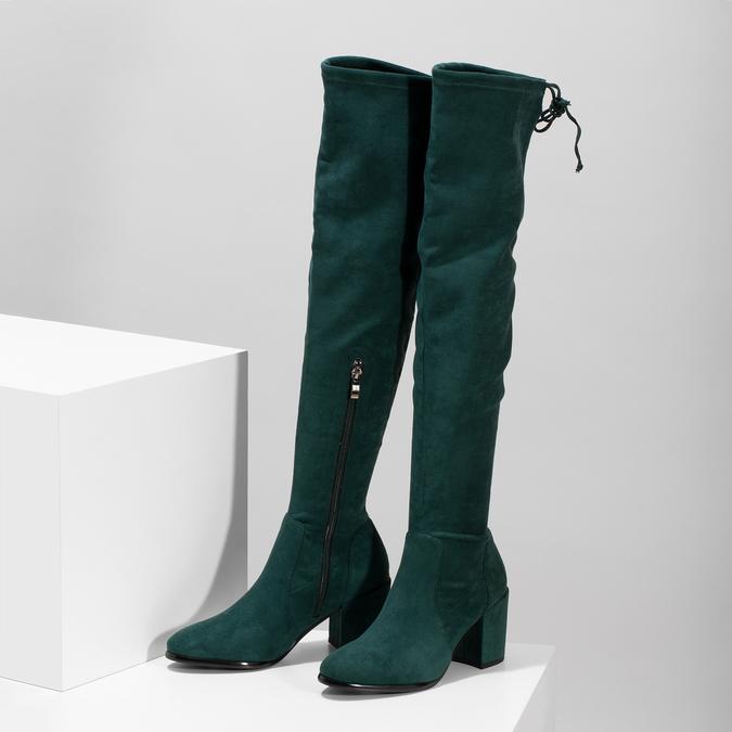 Dámské vysoké zelené kozačky se šňůrkami bata, zelená, 699-7609 - 16