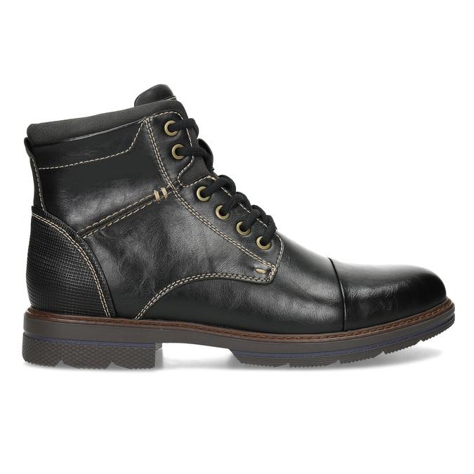 Pánská černá kotníčková obuv s prošitím bata-red-label, černá, 891-6610 - 19