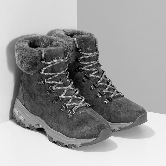 Dámská šedá zimní obuv z broušené kůže skechers, šedá, 593-2110 - 26