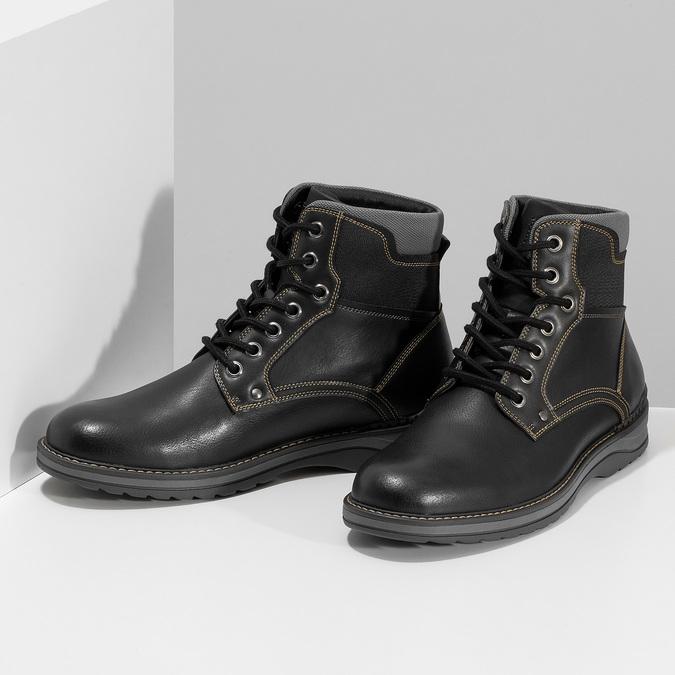 Pánská černá kotníčková obuv s prošitím bata-red-label, černá, 891-6606 - 16