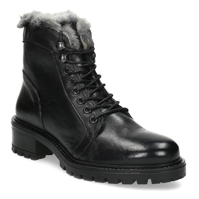 Černé kotníčkové kožené kozačky s kožíškem bata, černá, 594-6686 - 13