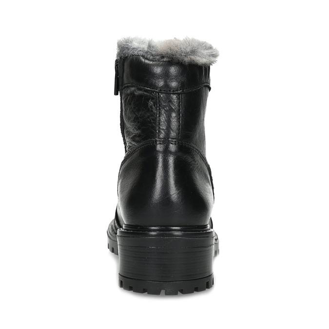 Černé kotníčkové kožené kozačky s kožíškem bata, černá, 594-6686 - 15