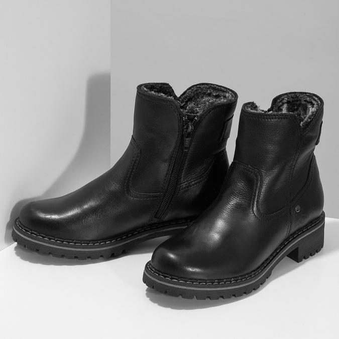 Dětské černá kožená kotníčková obuv s prošitím mini-b, černá, 396-6605 - 16