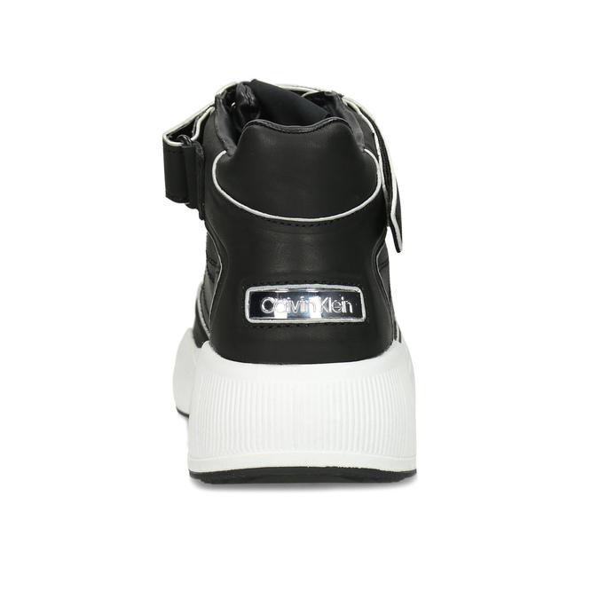 Černé dámské kožené kotníčkové tenisky calvin-klein, černá, 546-6542 - 15