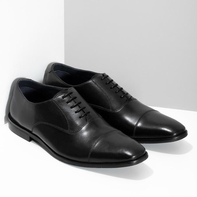Pánské černé kožené Oxford polobotky bata, černá, 824-6671 - 26