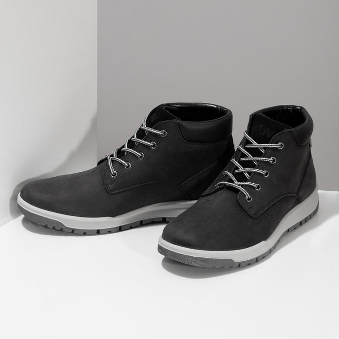 Černá pánská kotníčková obuv z broušené kůže weinbrenner, černá, 896-6396 - 16