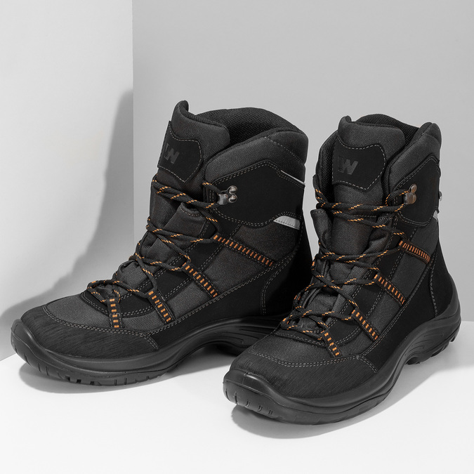 Černé pánské kožené sněhule weinbrenner, černá, 899-6602 - 16