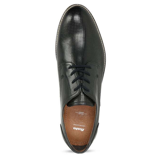 Pánské černé kožené polobotky s perforací bata, černá, 826-6617 - 17