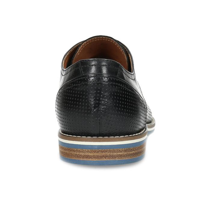 Pánské černé kožené polobotky s perforací bata, černá, 826-6617 - 15