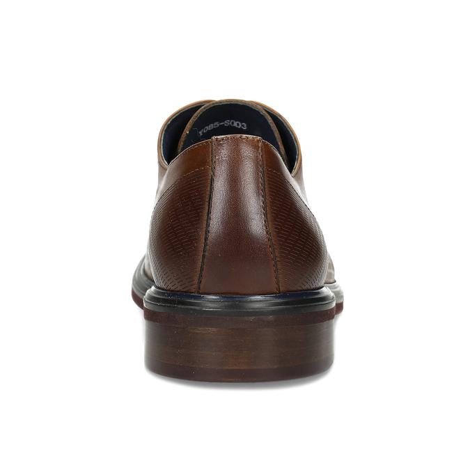 Hnědé kožené pánské polobotky s perforací bata, hnědá, 826-3658 - 15