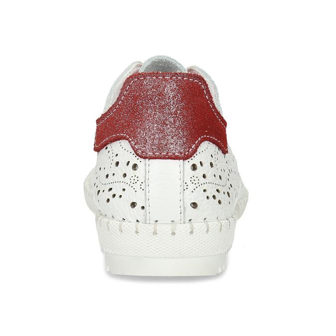 Dámská kožená bílá obuv s perforací bata, bílá, 524-1612 - 15