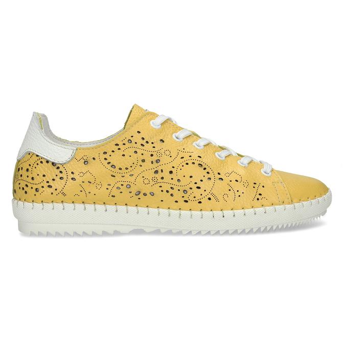 Dámská kožená žlutá obuv s perforací bata, žlutá, 524-1613 - 19