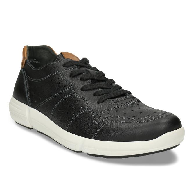 Pánské kožené černé tenisky městského typu bata-light, černá, 844-6650 - 13