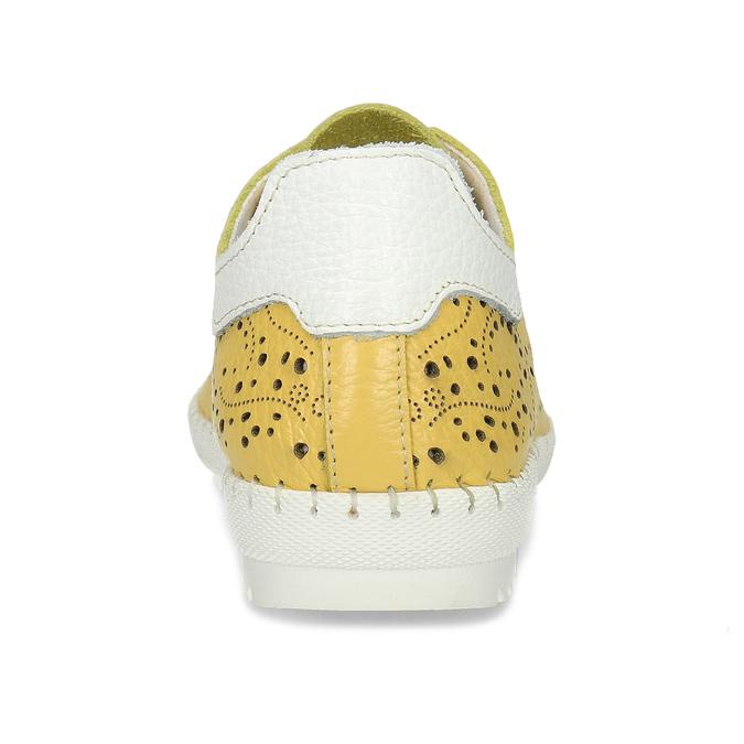 Dámská kožená žlutá obuv s perforací bata, žlutá, 524-1613 - 15