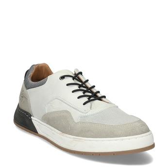 Bílé kožené ležérní tenisky bata, šedá, 846-1602 - 13