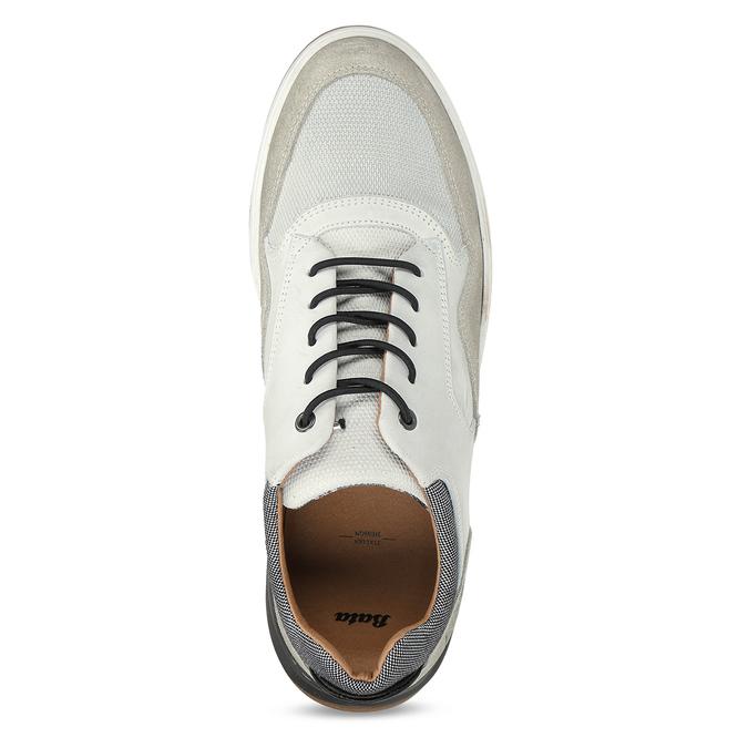 Bílé kožené ležérní tenisky bata, šedá, 846-1602 - 17