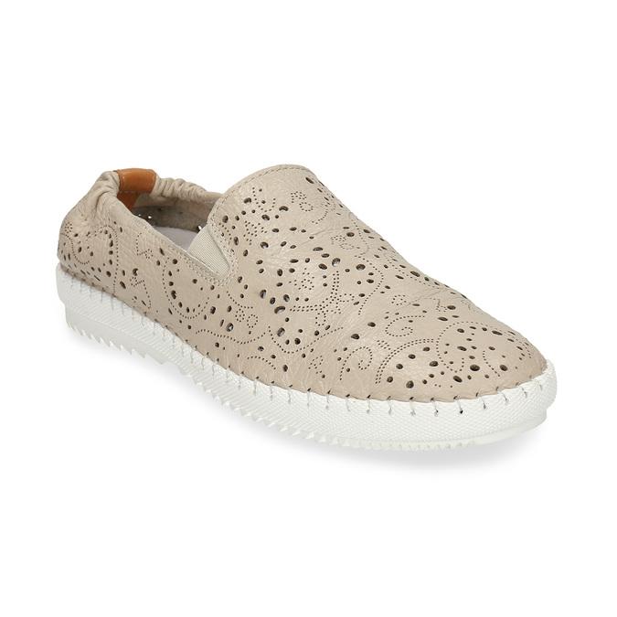 Dámská kožená béžová slip-on obuv s perforací bata, béžová, 524-8604 - 13