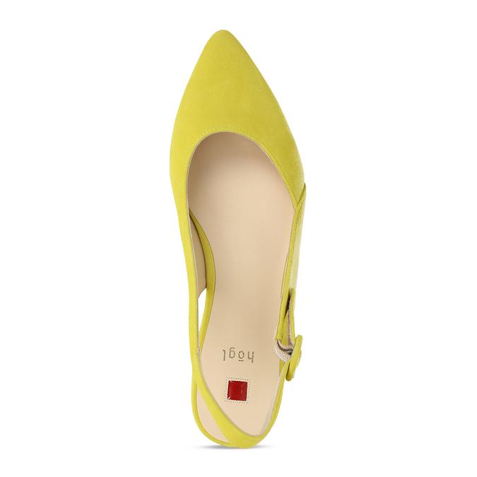 Dámské kožené žluté baleríny hogl, žlutá, 563-8101 - 17