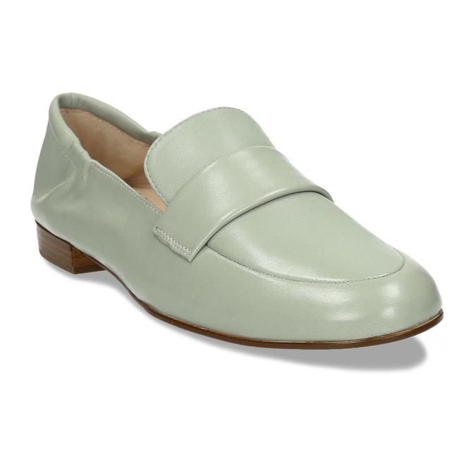 Dámská kožená světle zelená loafers obuv hogl, zelená, 514-6108 - 13