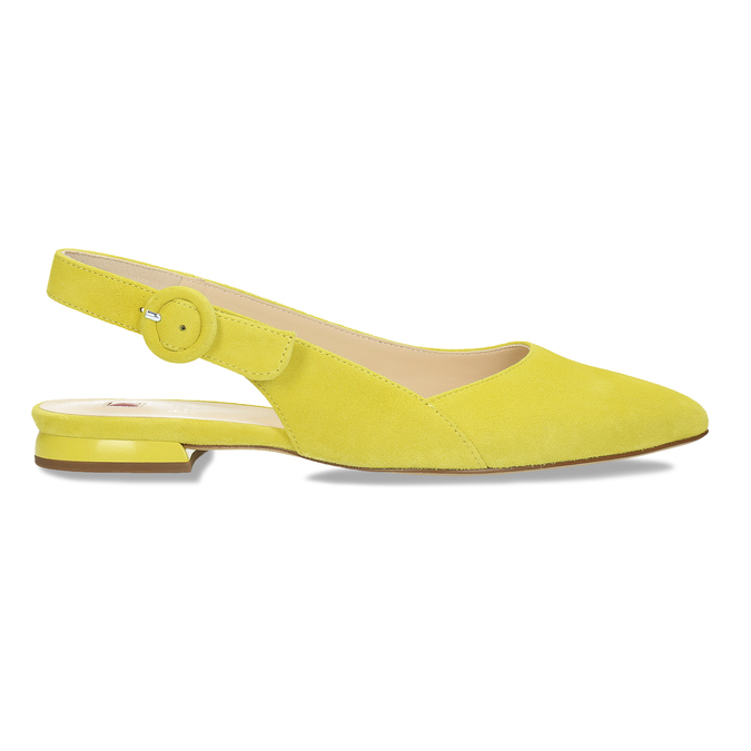 Dámské kožené žluté baleríny hogl, žlutá, 563-8101 - 19