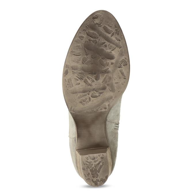 Béžové kotníčkové kozačky z broušené kůže bata, béžová, 693-8603 - 18