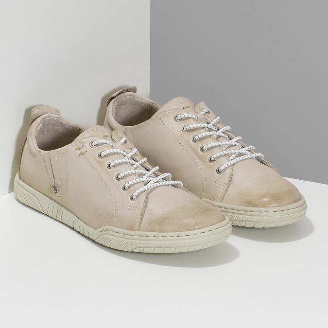 Dámské béžové kožené ležérní polobotky bata, béžová, 524-8603 - 26