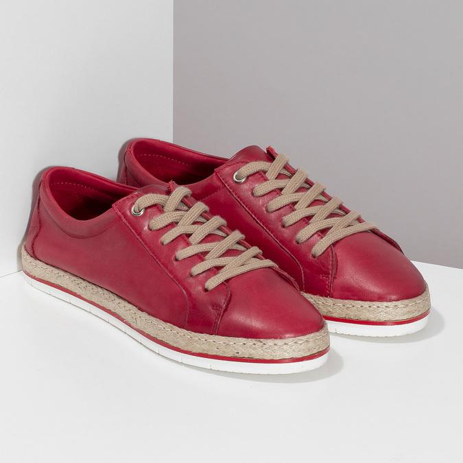 Červené dámské kožené tenisky s jutou bata, červená, 544-5604 - 26