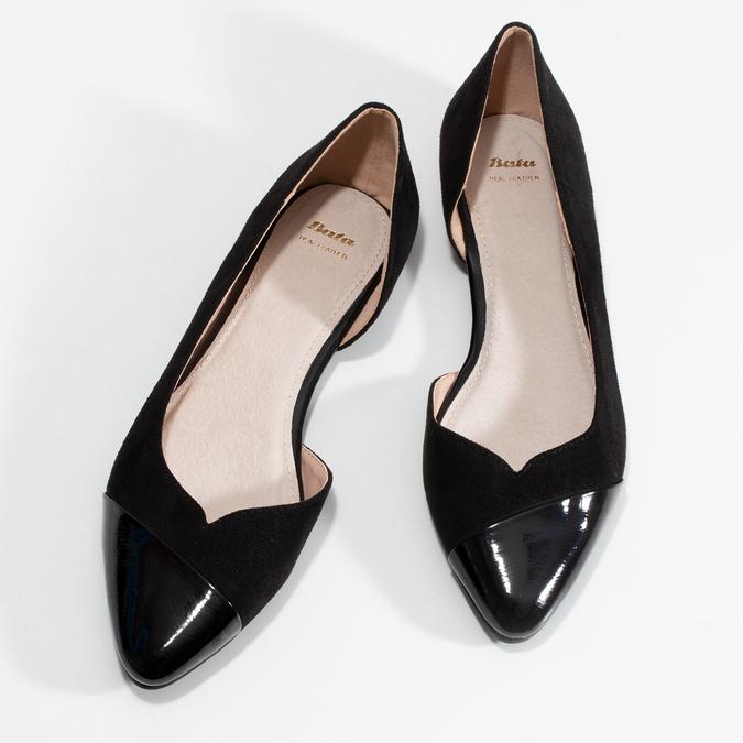 Černé dámské baleríny s vykrojením bata, černá, 529-6601 - 16