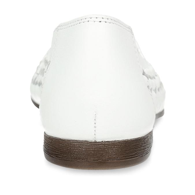 Bílé kožené dámské mokasíny s propletením bata, bílá, 524-1607 - 15