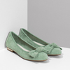 Zelené dámské baleríny s mašlí bata, zelená, 529-7602 - 26