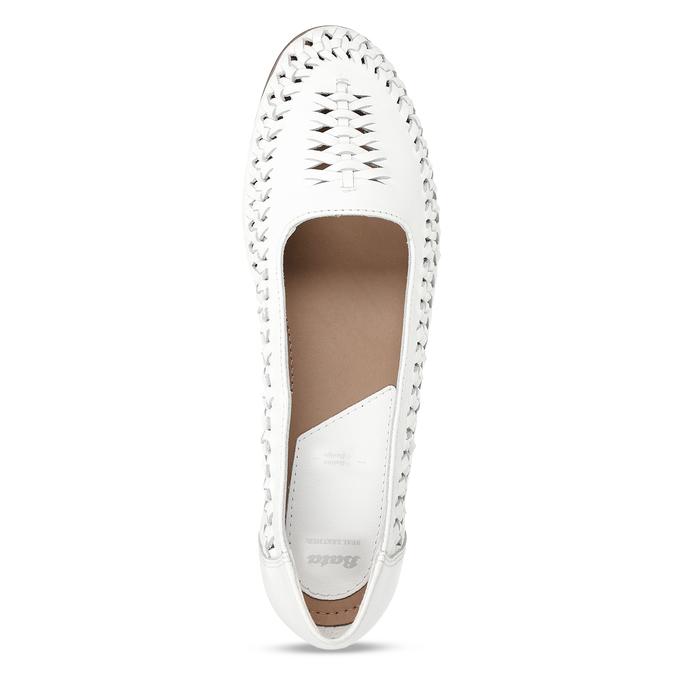 Bílé kožené dámské mokasíny s propletením bata, bílá, 524-1607 - 17