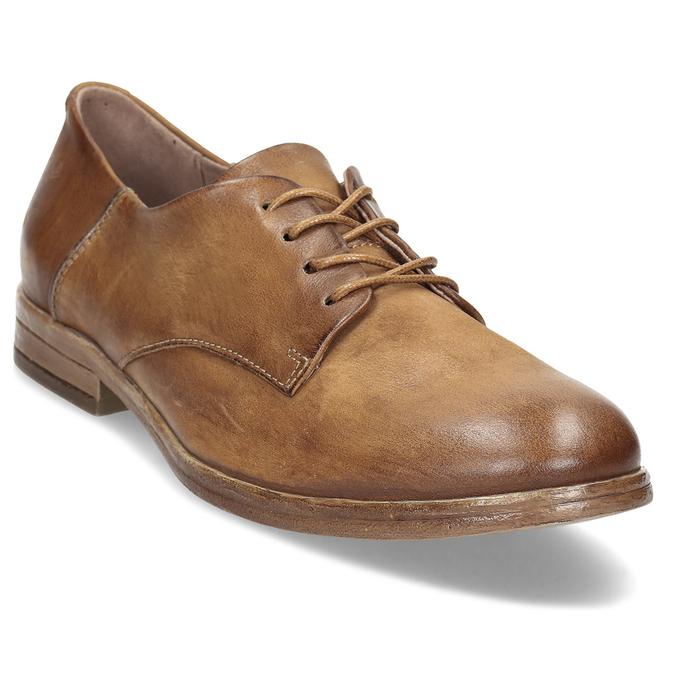 Hnědé dámské kožené derby polobotky bata, hnědá, 526-4607 - 13