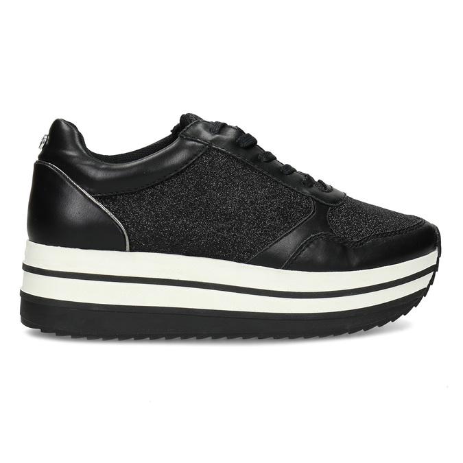 Černé tenisky na flatformě se třpytkami bata-light, černá, 541-6614 - 19