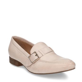 Dámské kožené béžové mokasíny se sponou bata, růžová, 514-5605 - 13