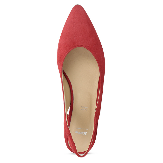 Kožené červené lodičky na nízkém podpatku s páskem bata, červená, 523-5607 - 17
