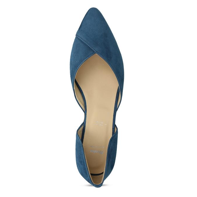 Kožené modré lodičky na nízkém podpatku bata, modrá, 523-9605 - 17