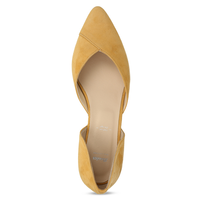 Kožené žluté lodičky na nízkém podpatku bata, žlutá, 523-8605 - 17
