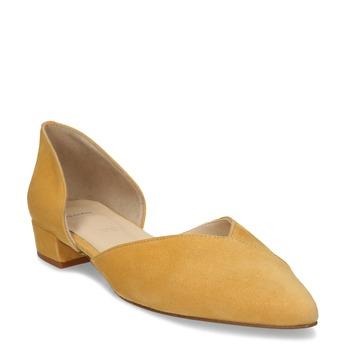 Kožené žluté lodičky na nízkém podpatku bata, žlutá, 523-8605 - 13