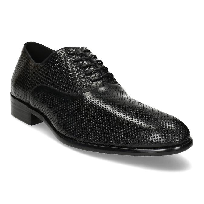 Pánské kožené černé polobotky bata, černá, 824-6676 - 13