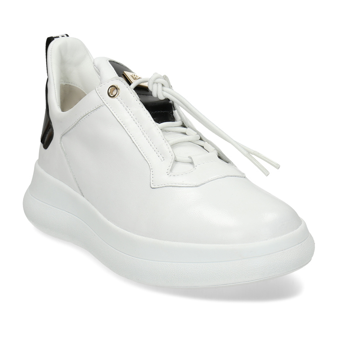 Bílé dámské kožené tenisky hogl, bílá, 544-1104 - 13