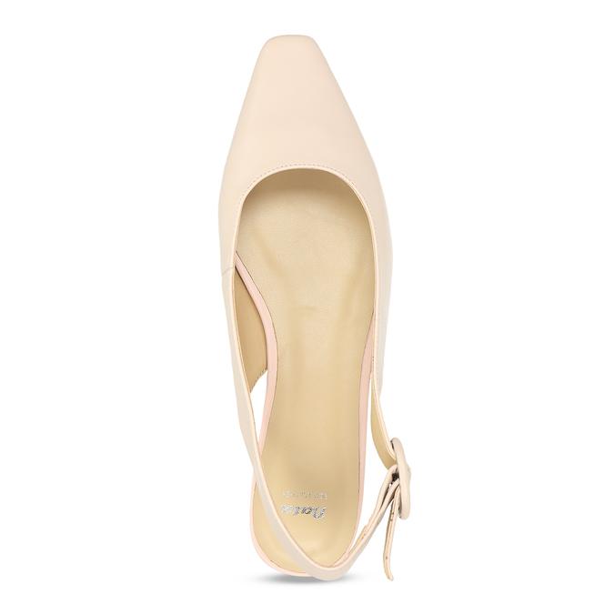 Béžové kožené baleríny s páskem bata, béžová, 524-8622 - 17
