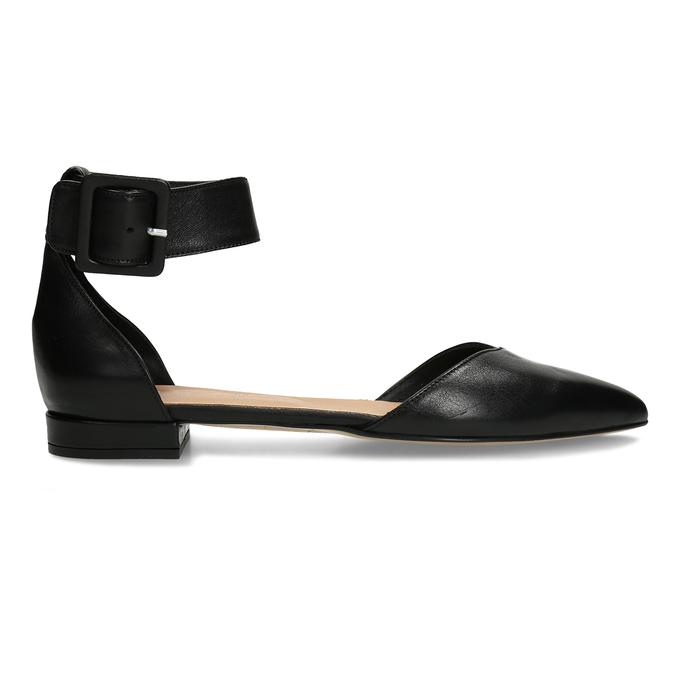 Černé kožené baleríny s páskem bata, černá, 524-6624 - 19