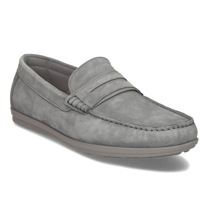 Pánské šedé kožené mokasíny flexible, šedá, 853-2620 - 13