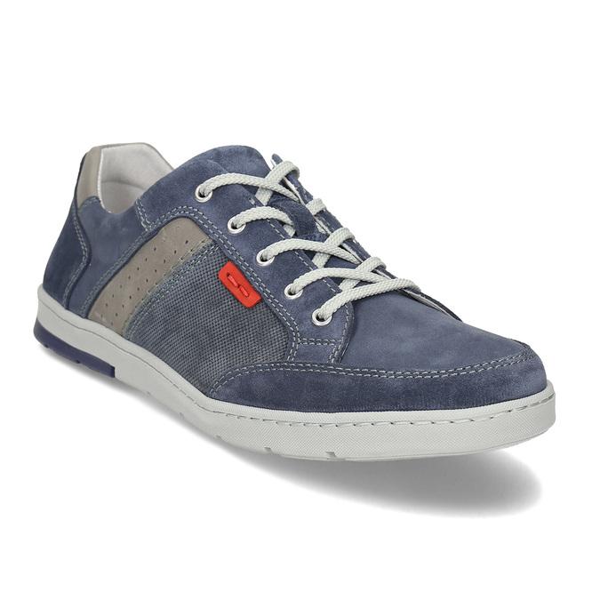 Modré kožené tenisky s prošitím bata, modrá, 846-9603 - 13