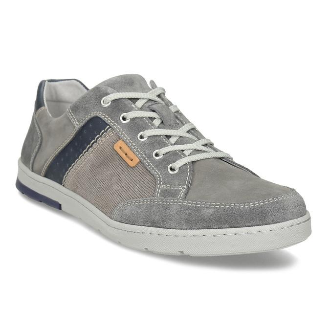 Šedé pánské kožené ležérní tenisky bata, šedá, 846-2603 - 13