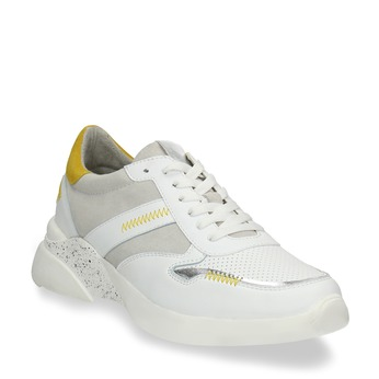 Bílé dámské tenisky s hořčicovými detaily bata, bílá, 546-1605 - 13