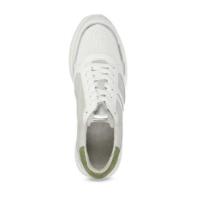 Dámské bílé tenisky se zelenými detaily bata, bílá, 546-1606 - 17