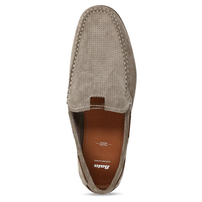 Béžové pánské mokasíny z broušené kůže bata, béžová, 853-8613 - 17